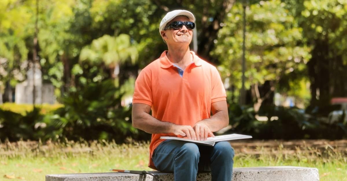 blind man reading